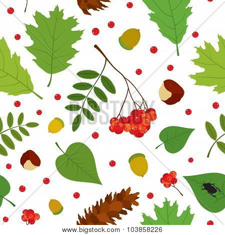Forest seamless pattern with rowan berries, leaves, acorn, chestnut, pine cone, beetle.
