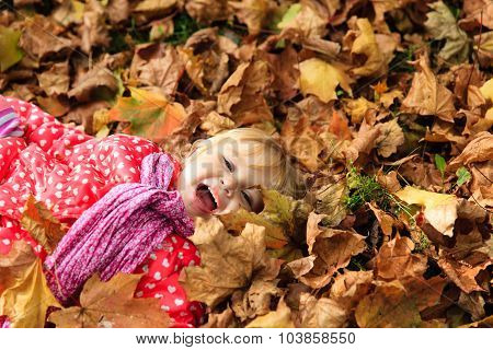 cute little girl playing with autumn fall