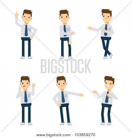 Set of vector flat style characters: office guy pointing in different directions.