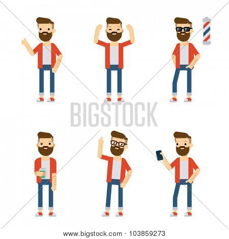 Set of vector flat style characters: hipster guy in different static poses.