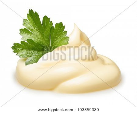 Parsley herb over cream isolated on white background.