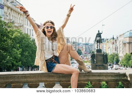 Hippie Woman Showing Victory Gesture On Wenceslas Square, Prague