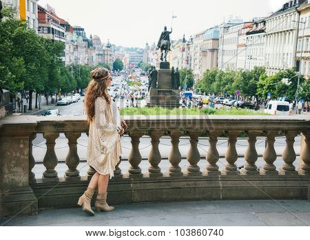 Bohemian Woman Tourist Standing On Wenceslas Square, Prague