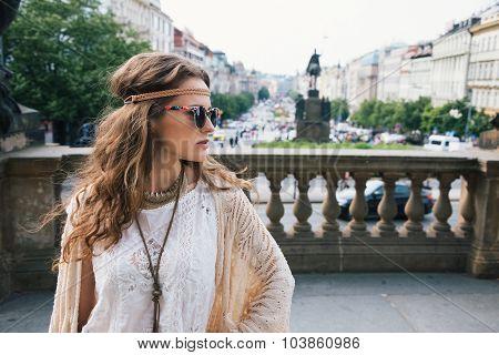 Trendy Hippie Woman Tourist Standing On Wenceslas Square, Prague
