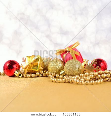 Golden And Red Christmas Decorations