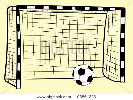Football goal and ball
