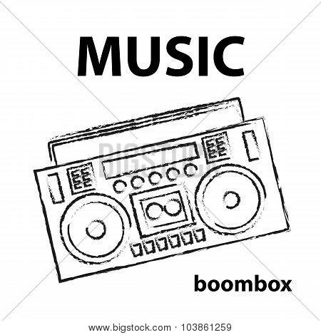 Boombox, Vector, Drawing, Illustration, Retro, Sketch