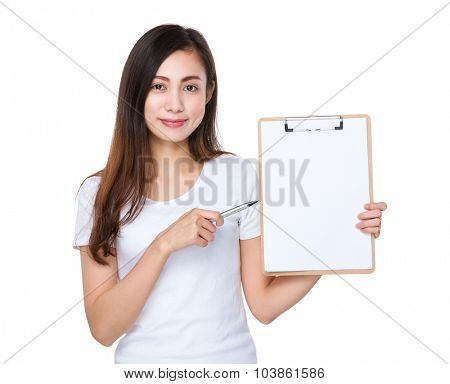 Asian young woman pen point to clipboard