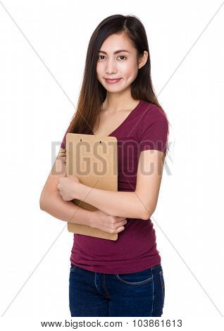 Asian woman hold with file board