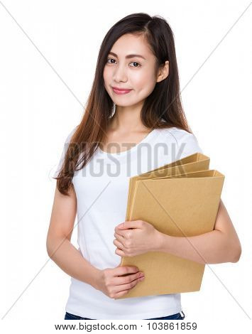 Woman hold with folder