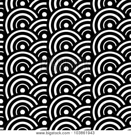 Black And White Concentric Circles Abstract Pattern. Seamlessly Repeatable. Vector Illustration
