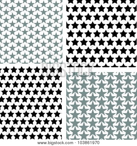 Repetitive Star Pattern Set Vector Black And White