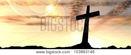 Concept conceptual black cross or religion symbol silhouette in rock landscape over a sunset or sunrise sky with sunlight clouds background banner