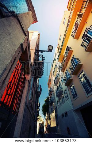 Narrow street in the city of Lisbon