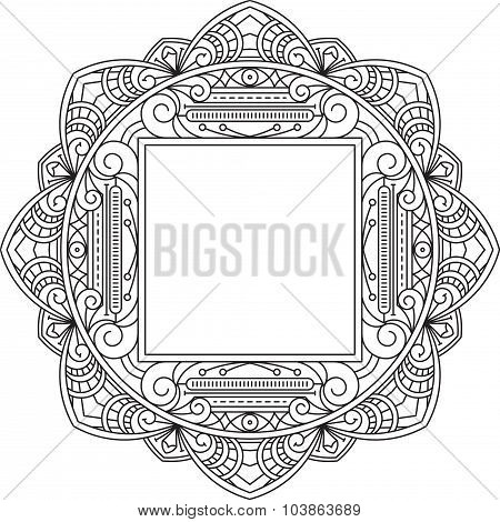 Unusual, Lace Frame, Decorative Element With Square Empty Place For Your Text. Vector Illustration.
