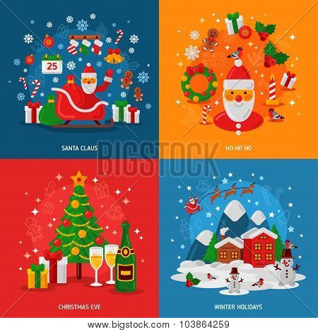 New Year and Christmas Concepts Set. Flat Winter Fun Holiday Design.