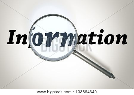 An image of a magnifying glass and the word information