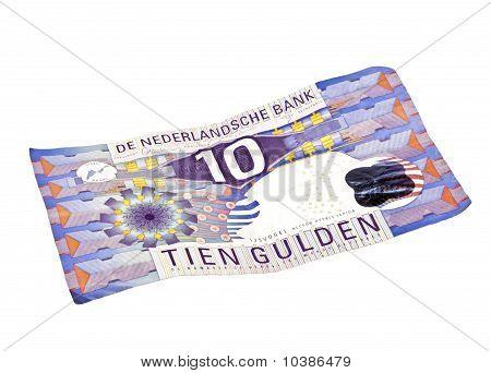 Old dutch money: Ten guilder note on a white background