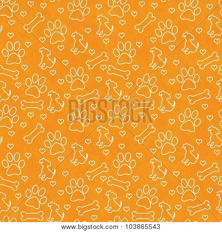 Orange And White Doggy Tile Pattern Repeat Background