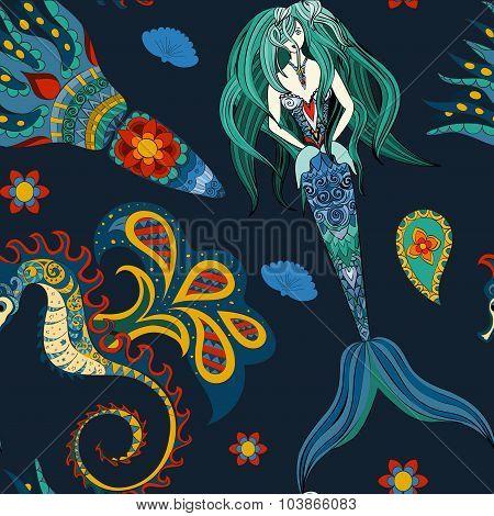 Hand drawn Ornamental Mermaid, sea-horse and calmar, seamless