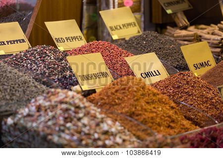 Various Spices On A Counter On The Grand Bazaar In Istanbul, Turkey