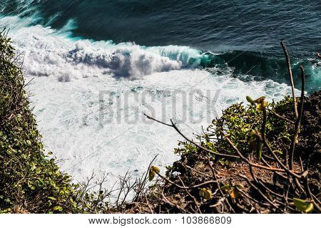 View Of Big Colorful Ocean Waves-bali, Indonesia