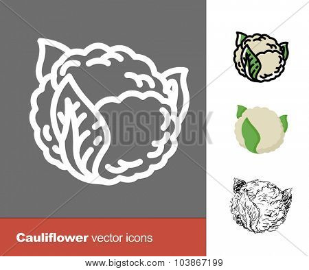 Cauliflower vector icons. Thin line, flat, and hand drawn styles
