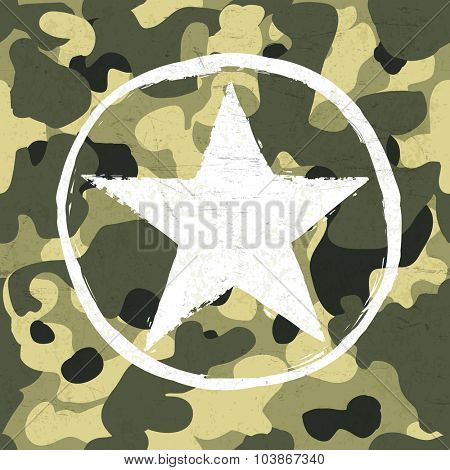 Military star on camouflage pattern