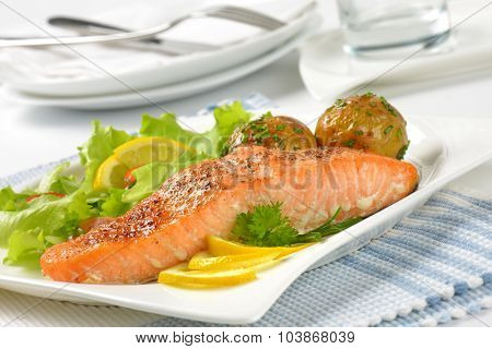close up of pan fried salmon fillet served with roasted potatoes and fresh vegetables on white square plate and striped place mat