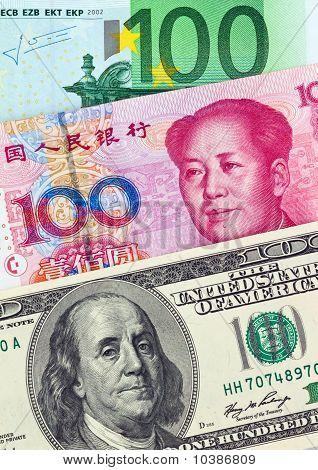 Dollar, Euro-bankbiljetten en Yuan