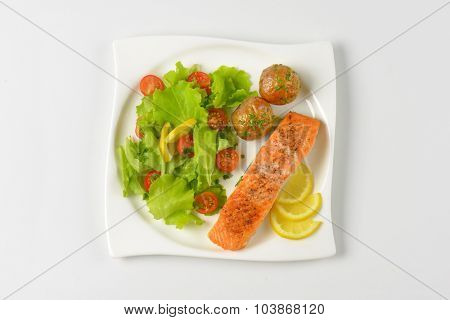 pan fried salmon fillet served with roasted potatoes and fresh vegetables on white square plate