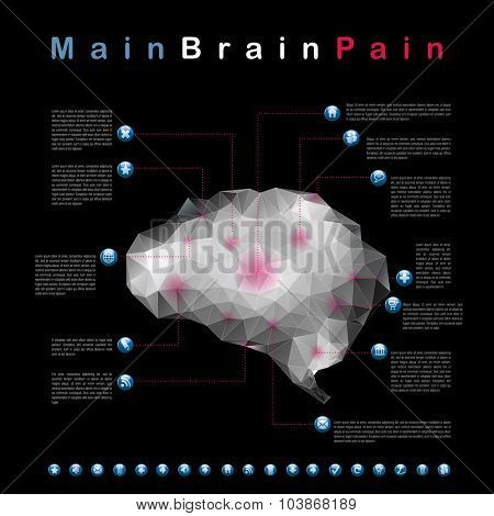 centers of headache, abstract infographic vector Illustration