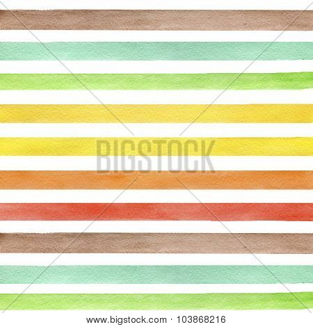Colorful hand drawn real watercolor seamless pattern with yellow green and brown horizontal strips.