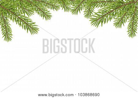Christmas Tree Top Frame Isolated On White Background