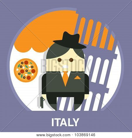 Italian Mafia Men in a Suit Vector Illustration