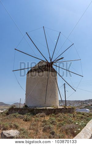 Windmill in Ano Mera town, island of Mykonos, Cyclades Islands