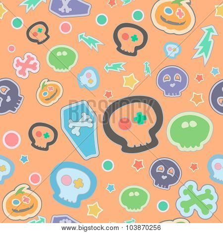Vector  halloween seamless pattern. Cartoon pumpkinsand skulls, coffin. Hand drawn vector illustrati