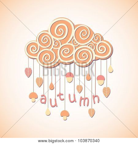 Vector autumn cloud with leaves mushrooms and acorns
