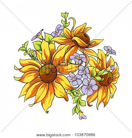 Bright vector flowers on white background