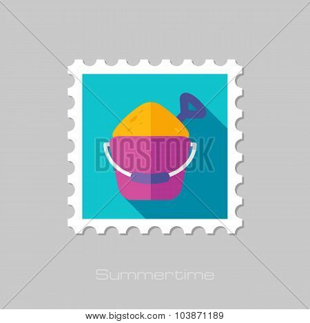 Sand Bucket and Shovel flat stamp with long shadow