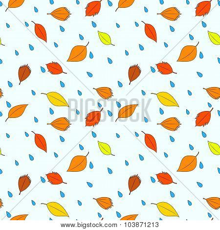 Autumn leaves and raindrops pattern