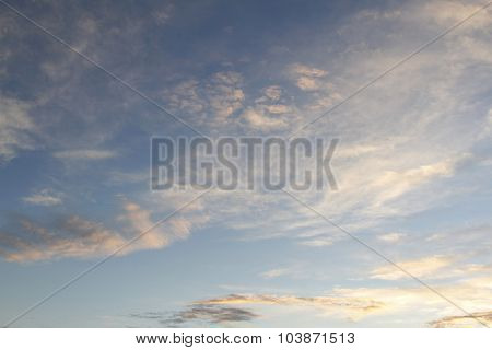 Fluffy clouds in evening sky