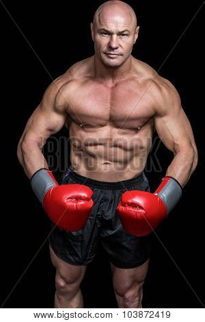 Portrait of boxer flexing muscles against black background