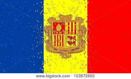 Flag of Andorra with water drops.