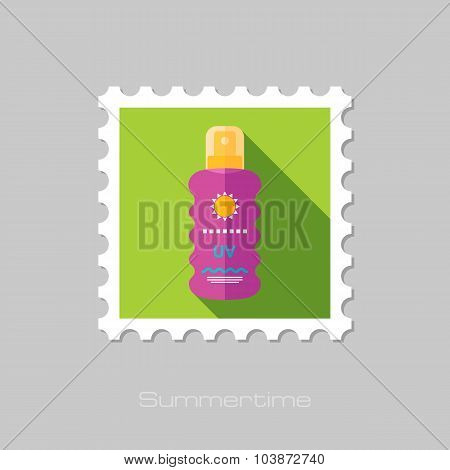 Sun Cream in Spray flat stamp with long shadow