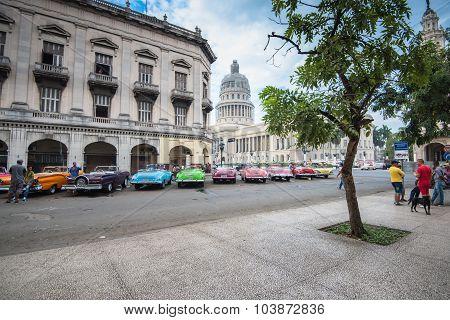 Classic American Car And Capitolio Landmark In Havana,cuba