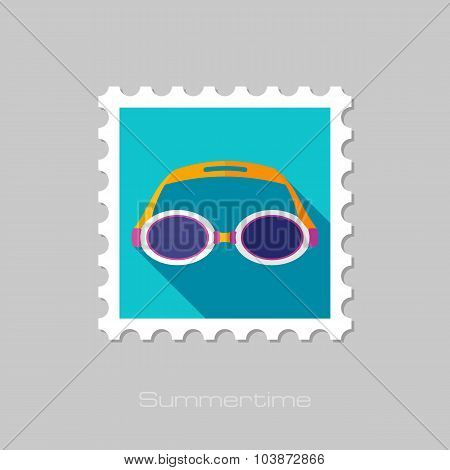 Swimming Goggles flat stamp with long shadow