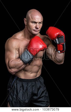 Bald boxer with red gloves against black background