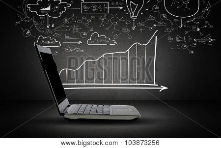 technology, business, planning and strategy concept - open laptop computer with scheme and chart doodles over dark gray background