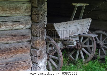 Old Wooden Cart In Coach-house